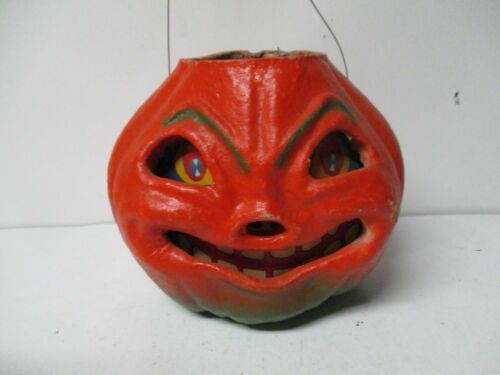 "7""T - Vintage LARGE Halloween USA JOL Pumpkin Candle Lantern"