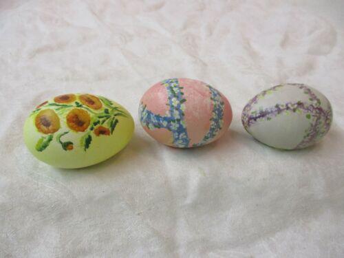 Vintage 3 ceramic Hand Painted Easter Eggs