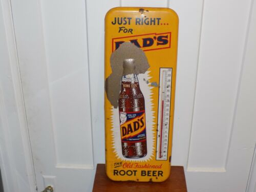 Vintage Dad's Old Fashioned Root Beer Embossed Thermometer
