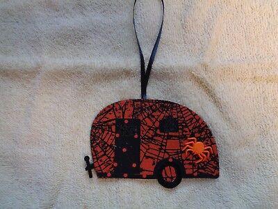 NEW Handcrafted Vintage Camper Trailer Ornament Halloween OrangeBlack Spider Web - Halloween Trailer
