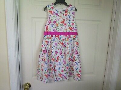 Pink Dress For Girl (Girl's Lands End Sleeveless Spring/Summer Dress. Lined. Size 8. White, Pink,)