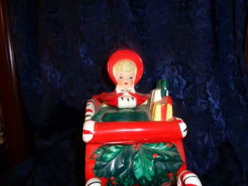 Red Sleigh Girl candy dish Lefton
