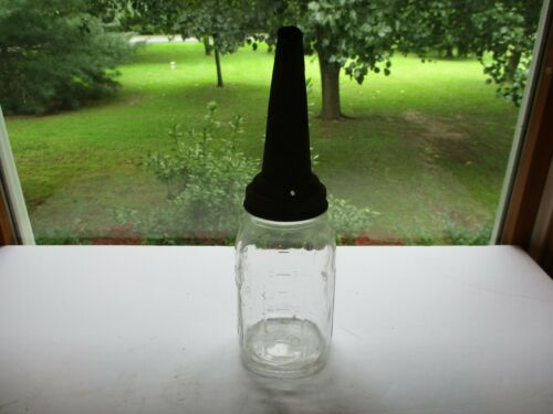 Vintage Jay Rhodes Oil Can Spout Ball Perfect Mason Clear Jar