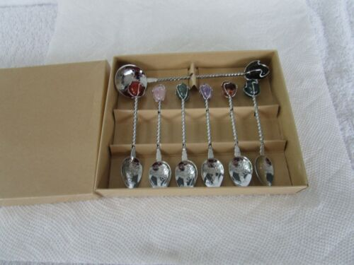 Estilo Gemstone Spoons ~Set Of 7~Twisted Wire Brazil Spoons in Original Box!!