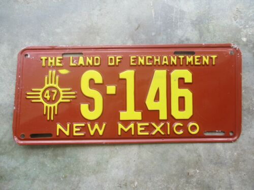 New Mexico 1947 license plate  #  S - 146