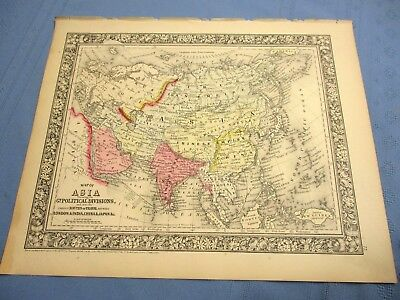 1865 Map of Asia, Political Divisions & Routes of Travel, London, India, China
