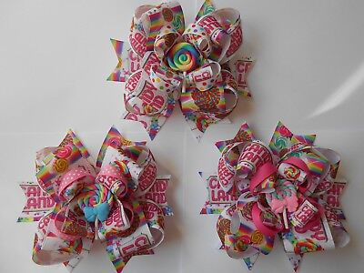 Candyland Lollipops Sweets Girls Colors hair bow hairbows hair bows Large 6 Inch - Lollipop Hair Bows