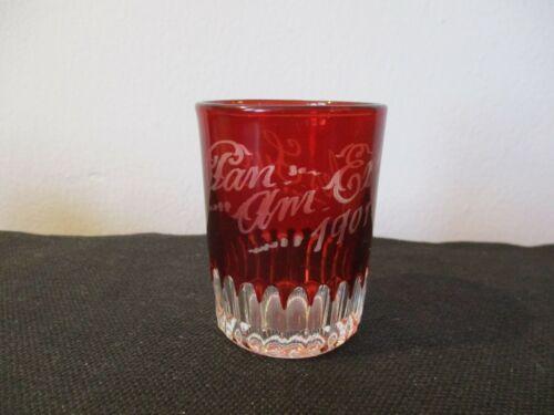 "1901 Souvenir EAPG Ruby Flash Shot Glass ""Myles Sweeney"" Buffalo New York"