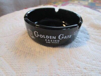 RARE+Vintage Las Vegas Golden Gate Black Amethyst Glass Souvenir Casino Ashtray
