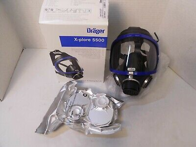 Full Face Respirator Mask Drager X-plore 5500 R55270 With 2 Gas Cartridge