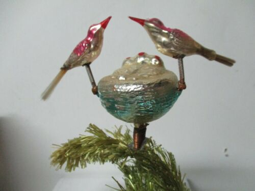 Old Glass Christmas Ornament - Birds on Springs with Babies in Nest on Clip