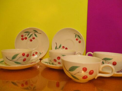 Homer Laughlin Rhythm Cherries Cups & Saucers