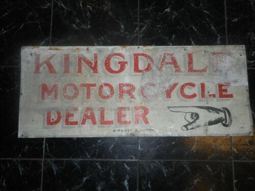 Vintage Original Rare Kingdale Motorcycle Dealer Metal Advertising Sign