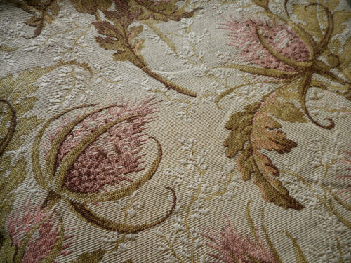 Antique French Thistle Theasle Floral Cotton Jacquard Fabric #2~ Rose Pink Olive