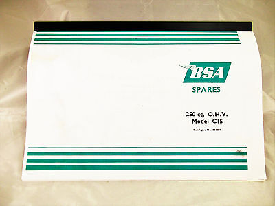 BSA C15 OHV 250cc Spares Reference Parts Book looseleaf Manual