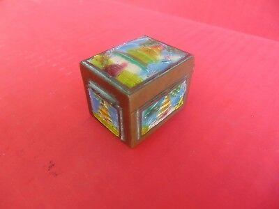 Paint Polished Brass - GOOD CHINESE FORTUNE TRINKET BOX Keeper Hand Painted Polished Brass