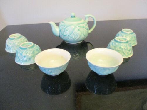 Set 6 Asian Tea Cups Celadon Pottery Crackle Glaze Embossed Winged Bird Teapot!