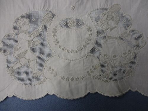 antique Tennis pair figural tennis players linen hand towel