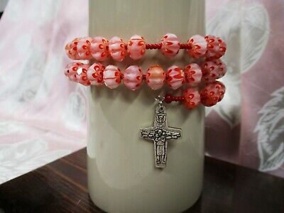 Rosary Wrap Bracelet - 10 x 8mm Red Lampwork Faceted Glass Beads