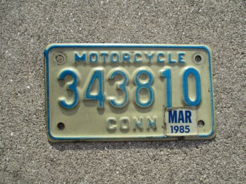 Connecticut 1985 motorcycle  license plate #  343810