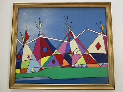 Pop Art Expressionism (NORMAN  AMERICAN INDIAN TEEPEE PAINTING EXPRESSIONISM LANDSCAPE VINTAGE POP ART )