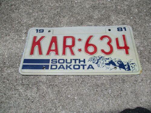 South Dakota 1981 license plate #  KAR : 634