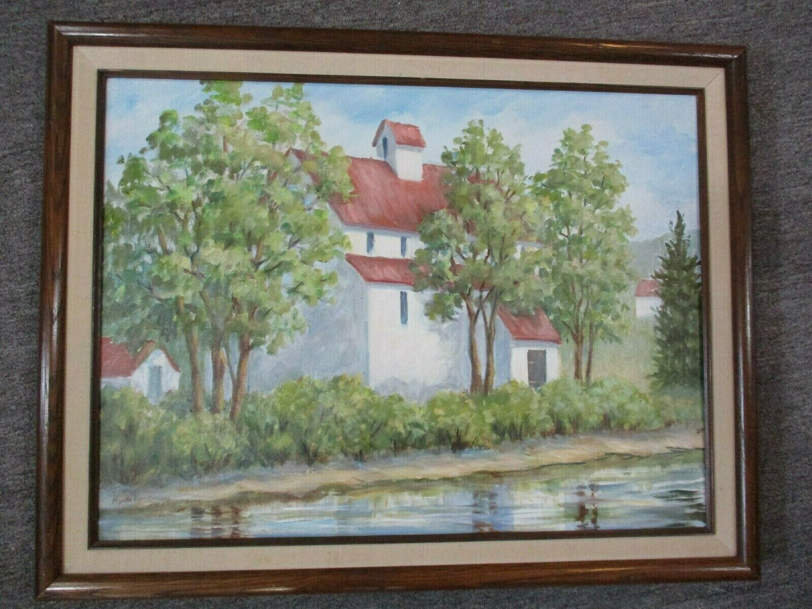 "Old Forge By Myrtle Kerr Conaway Framed Oil Painting 27.5"" X 21.5"""