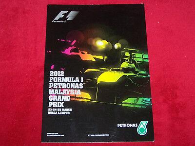 F1 Programm  Malaysia Grand Prix  2012, gebraucht gebraucht kaufen  Schneeberg