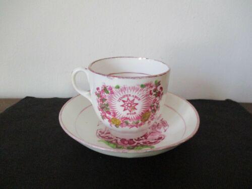 19th Century Sunderland Pink Luster Porcelain Cup Saucer Temperance Sobriety