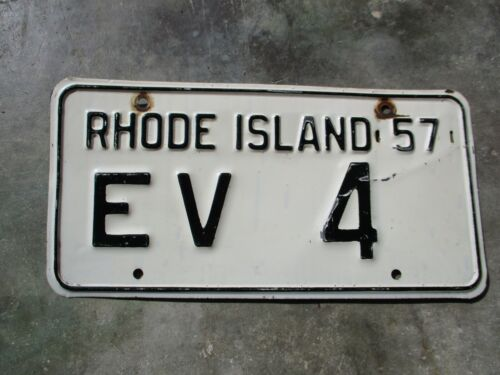 Rhode Island 1957 license plate #   EV   4