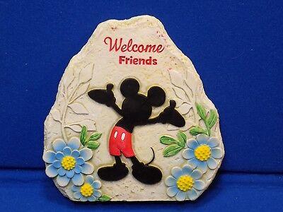 Welcome Friends Mickey Mouse Rock Walt Disney Resin Door Stopper Sign Flowers