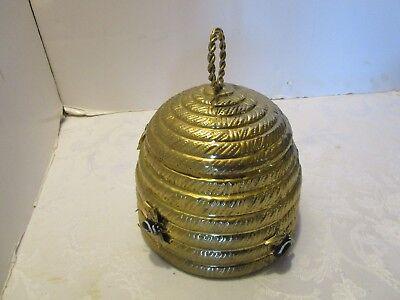 """Vintage Brass Beehive Cookie Jar 5 bees 8"""" x 7""""  Mottahedeh Box Mid century"""