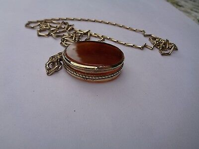 VICTORIAN PINCHBECK AGATE LOCKET AND CHAIN
