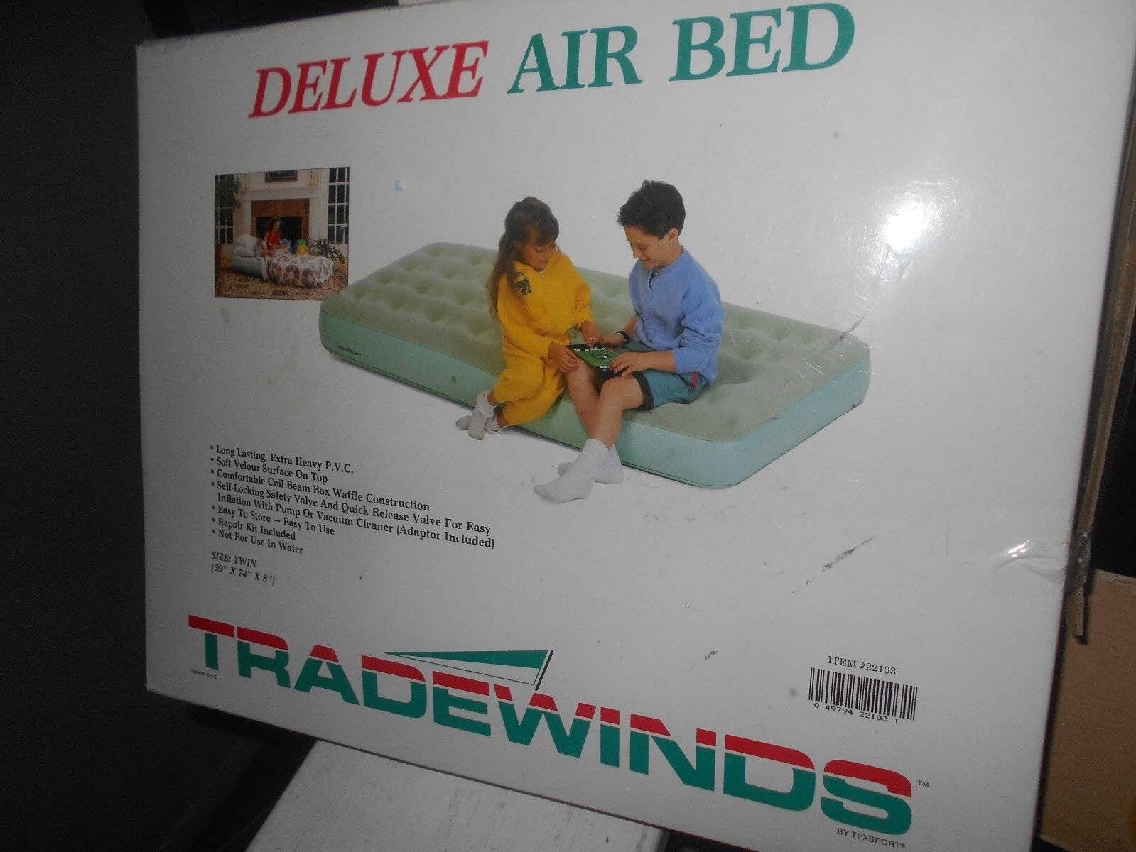 Texsport Deluxe Inflatable Airbed Mattress Twin Size New Sea