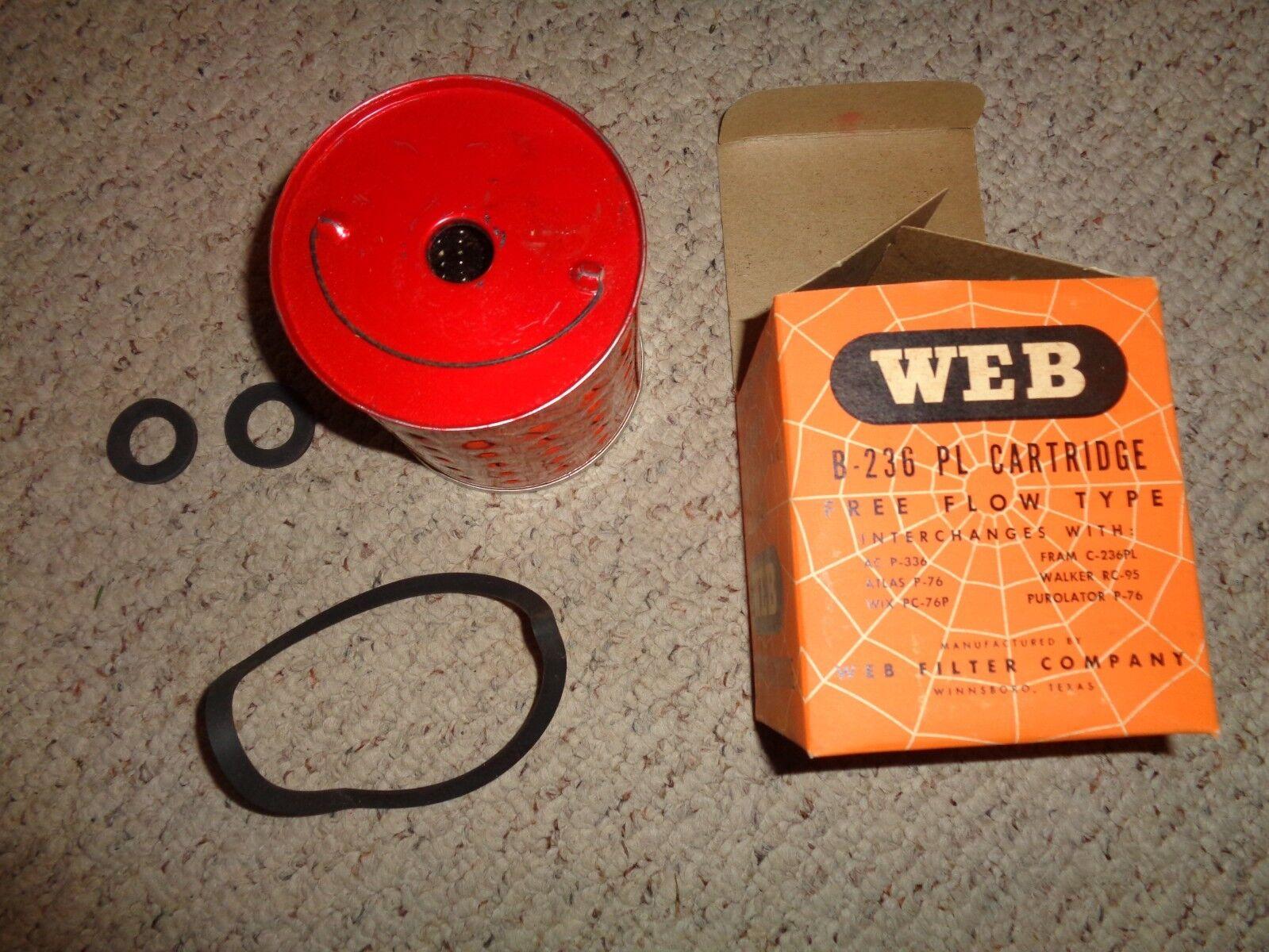WEB Oil Replacement Cartridge B-236 PL AC P-336 FRAM C-236PL NOS