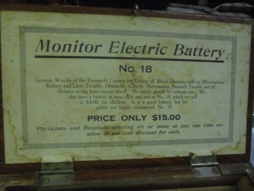 Vintage Monitor Electric Battery No. 18 Medical Quack Device