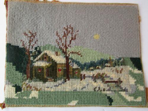 "Vintage Winter Snow Scene Needlepoint House Moon at Night 9""x7"" Petit point"