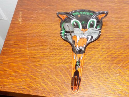 Vintage Halloween Metal Cat Noise Maker by US Metal Toy Company