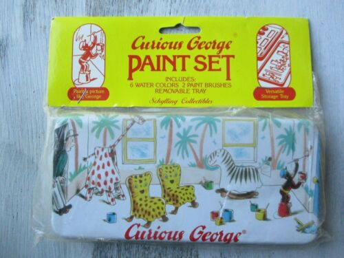 Schylling Curious George Paint Set Tin Lift-Out Tray, HM Co. 1995 Vtg NIP