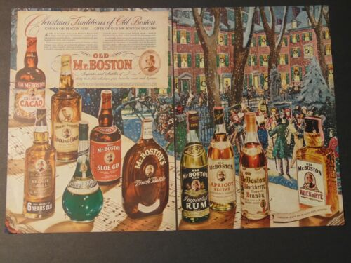 1942 OLD MR. BOSTON LIQUORS For Christmas Cheer vintage art print ad