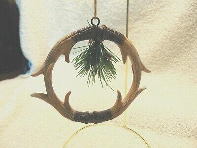 Rustic Deer Antler Wreath Christmas Ornament #A