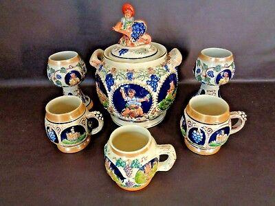 Vintage German Ceramic Stoneware Gerz Punch Bowl Set (Cat.#3T001)