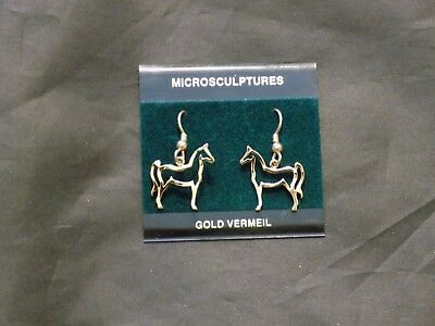 Gold Vermeil Horse Cut Out Pierced Hanging Earrings Hooks Jewelry NEW! Vermeil Cut Out