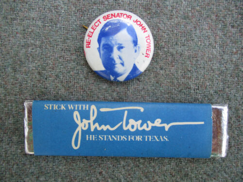 VINTAGE 1970s 1978 TEXAS U.S. SENATOR JOHN TOWER CHEWING BUBBLE GUM & PIN