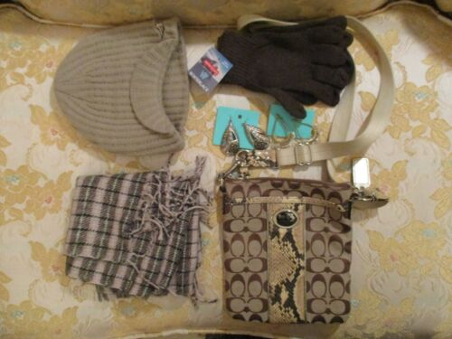Brown and beige Snakeskin Coach Crossbody Handbag, Scarf, Gloves, Hat & Earrings