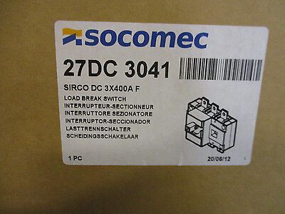 Socomec 27dc3041 400 Amp 600 Vdc Pv Disconnect Switch- New