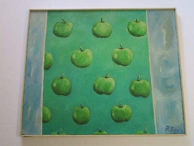 Pop Art Expressionism (LARGE POP ART PAINTING 1970'S SIGNED RF APPLES EXPRESSIONISM MYSTERY ARTIST VNTG )