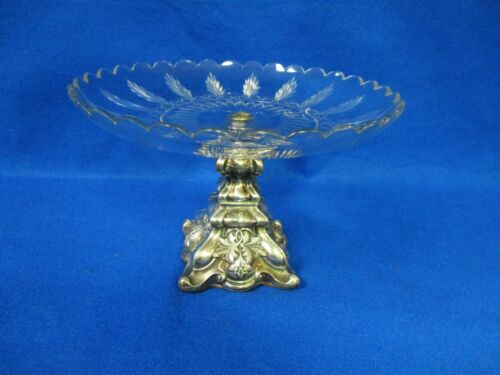 VICTORIAN CUT GLASS REPOUSSE SILVER OVERLAY SILVERPLATE DESSERT CAKE STAND
