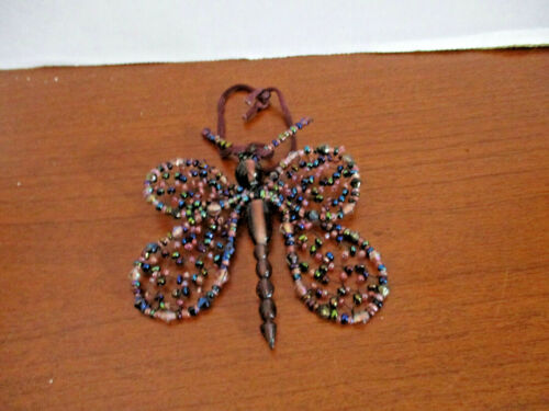 Beautiful  BEADED BUTTERFLY Christmas Ornament