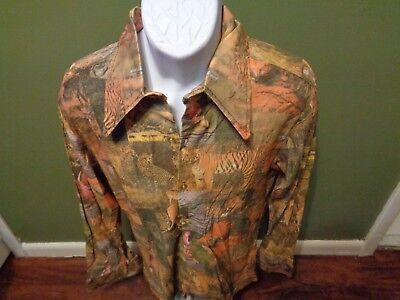 Vintage 70's JE LE Fashion MIAMI NYLON SHIRT SIZE MEDIUM DISCO HIPSTER